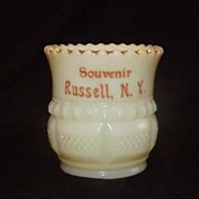 Custard Glass Souvenir Toothpick Holder From Russell, N.Y.
