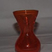 Unmarked Orange Crackle Glass Vase
