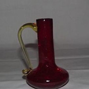 Red Crackle Glass Ewer With Yellow Attached Handle