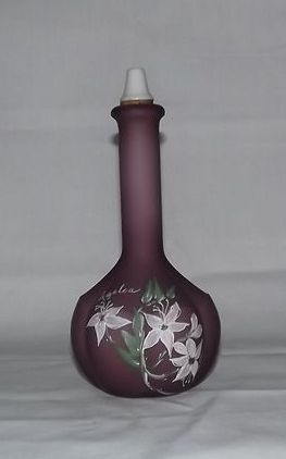 Fenton Raspberry Satin Glass Barber Bottle Artist Signed