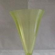 Fenton Topaz Stretch Glass Trumpet Vase