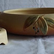 "Weller Pottery ""Cornish"" Flower Bowl And Frog"