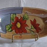 Flower Decorated Lusterware Relish Dish