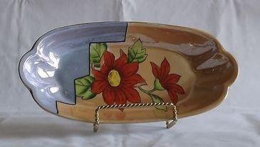 Flower Decorated Lusterware Relish Dish