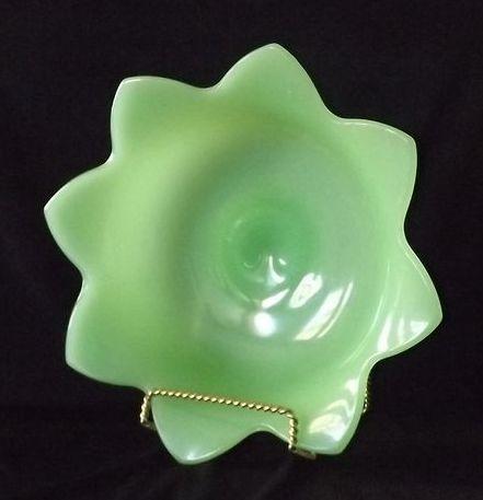 Fenton Jadeite Lotus Console Bowl
