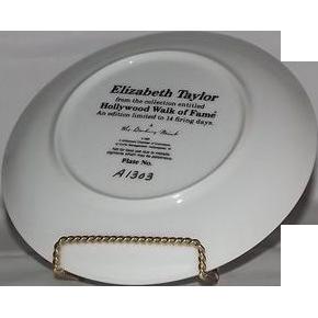 Elizabeth Taylor Hollywood Walk Of Fame Collector Plate