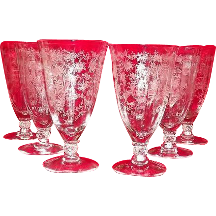 "Fostoria ""Chintz"" Etched Iced Tea Goblets Set Of Twelve"