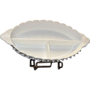 Unmarked Fenton Milk Glass Three Part Relish Dish