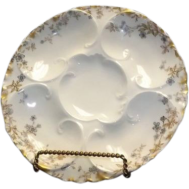 Flower Decorated Limoges Oyster Plate