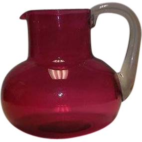 Unmarked  Cranberry Colored Bulbous Pitcher