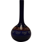 Cobalt Blue Enamel Decorated Barber Bottle