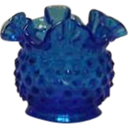 Unmarked Fenton Blue Hobnail Rose Bowl