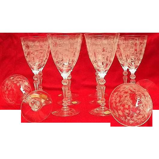 "Set Of Twelve Fostoria ""Chintz"" Water Goblets"