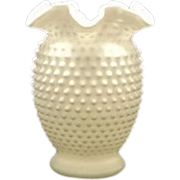 Fenton Double Crimped Hobnail Milk Glass Vase