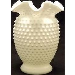 Fenton Double Crimped Hobnail Milk Glass Vase