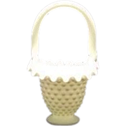 Fenton Small Hobnail Milk Glass Basket