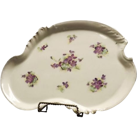 Large Violet Decorated Dresser Tray