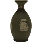 Sage Green Jasperware Wedgwood Bottle Shaped Vase