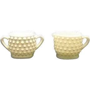 Fenton Hobnail Milk Glass Mini Sugar And Creamer