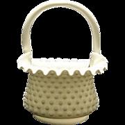 Fenton Milk Glass Hobnail Basket With Original Paper Label