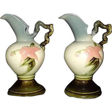 "Pair Of Hull Pottery ""Woodland"" Ewers"