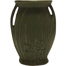 Unmarked McCoy Green Two Handled Vase