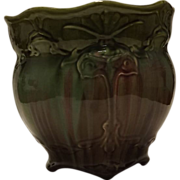 Blended Glaze Jardiniere With Flower Blossom Decoration