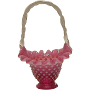 Fenton Cranberry Opalescent Hobnail Basket Form #3834