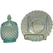 Fenton Blue Opalescent Hobnail Jam Jar And Under Plate
