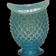 Fenton Blue Opalescent Hobnail Hat Shaped Mini Vase
