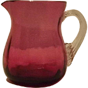 Unmarked Cranberry Creamer With Attached Ribbed Handle