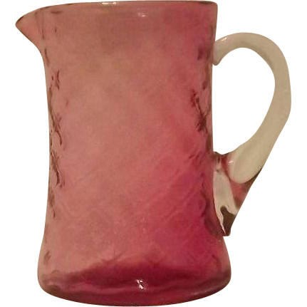 Fenton Ruby Overlay Diamond Optic Creamer