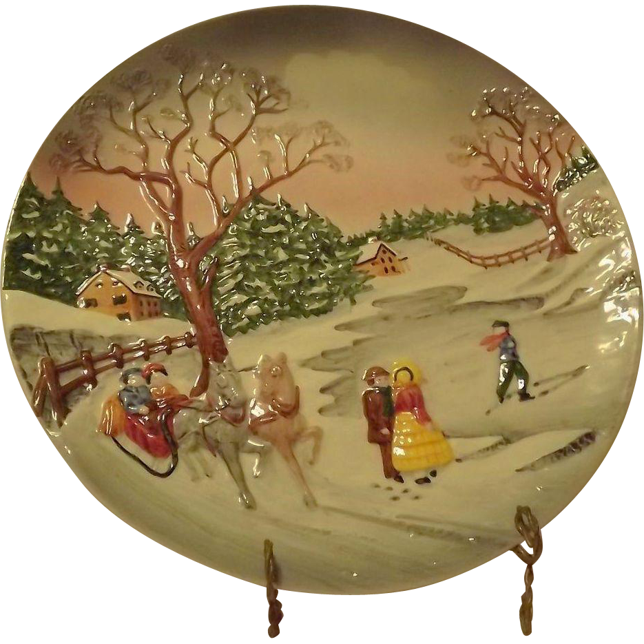 Country Winter Scene Charger Made In Western Germany From