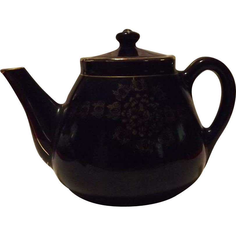 Weller Pottery Cobalt Blue With Gold Accents Teapot