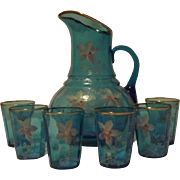Unmarked Hand Decorated Light Blue Lemonade Set