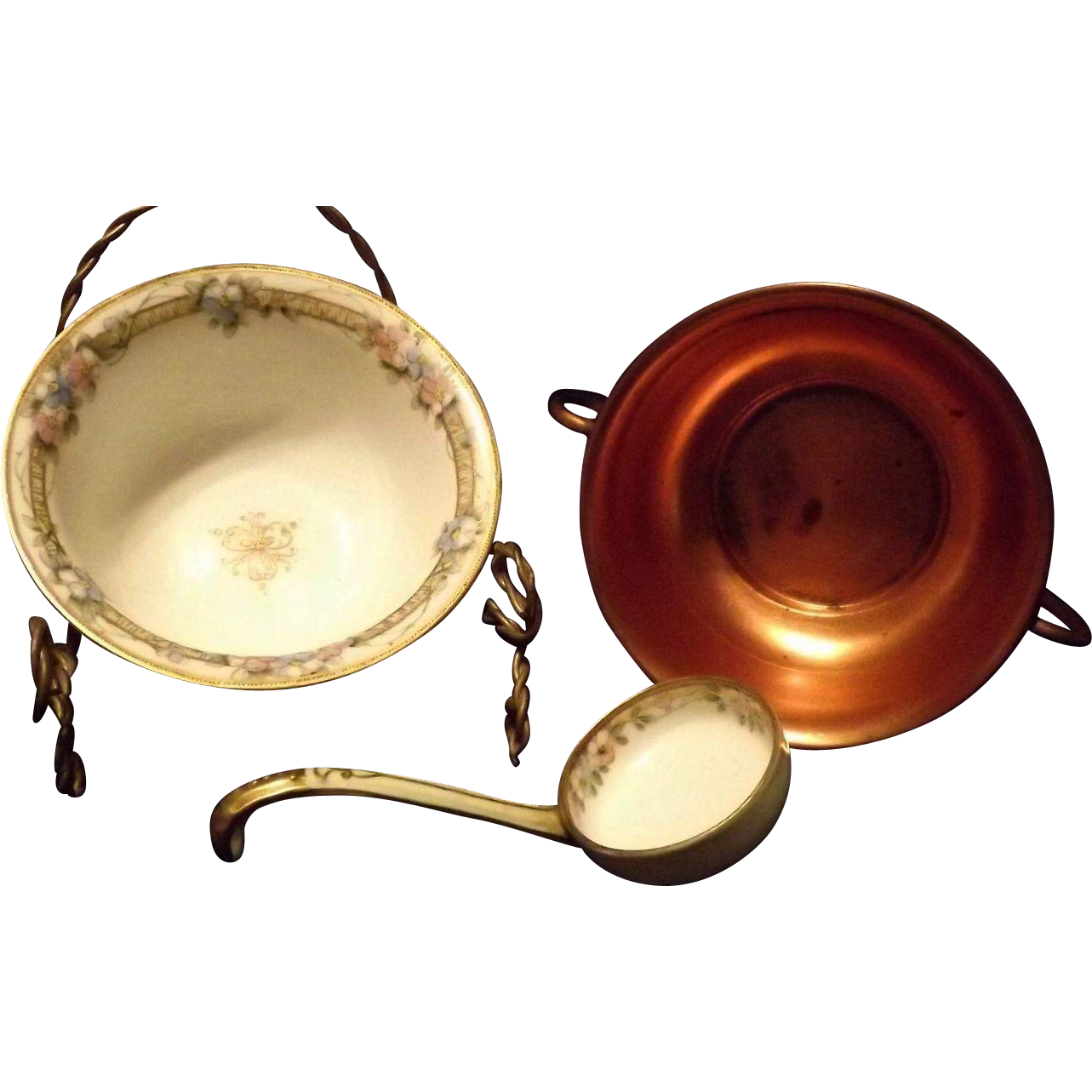 Noritake China Sauce Bowl With Metal Base And Original Ladle