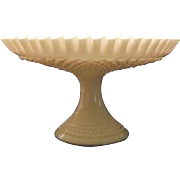 Unmarked Fenton Hobnail Milk Glass Pedestal Fruit Or Center Bowl