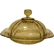 Federal Glass Amber Covered Butter Dish