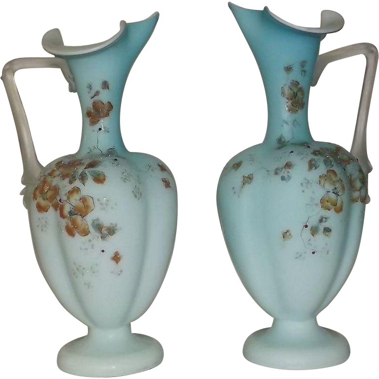 Pair Of Victorian Cased Glass Hand Enameled Mantle Ewers