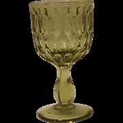 Set Of Eight Fenton Olive Green Thumbprint Wine Glasses