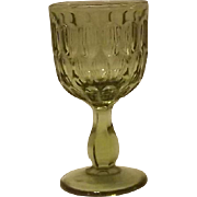 Set Of Eight Fenton Olive Green Thumbprint Wine Glasses