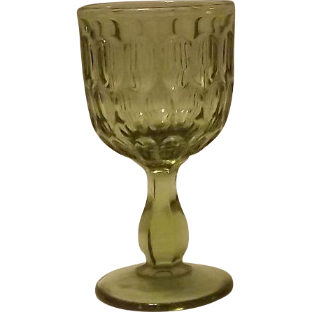 Four Fenton Olive Green Thumbprint Wine Glasses