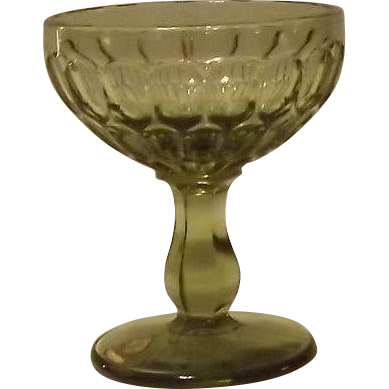 Set Of Eight Fenton Olive Green Thumbprint Sherbet Or Champagne Glasses