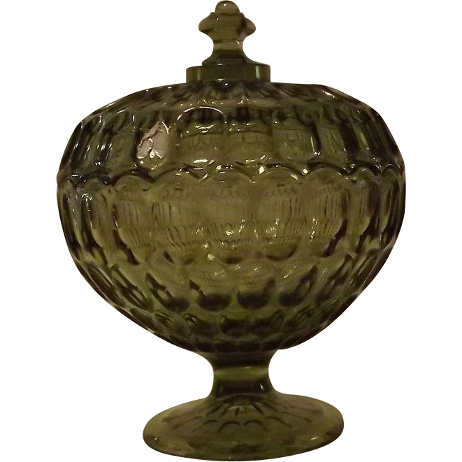 Fenton Olive Green Thumbprint Covered Candy Dish