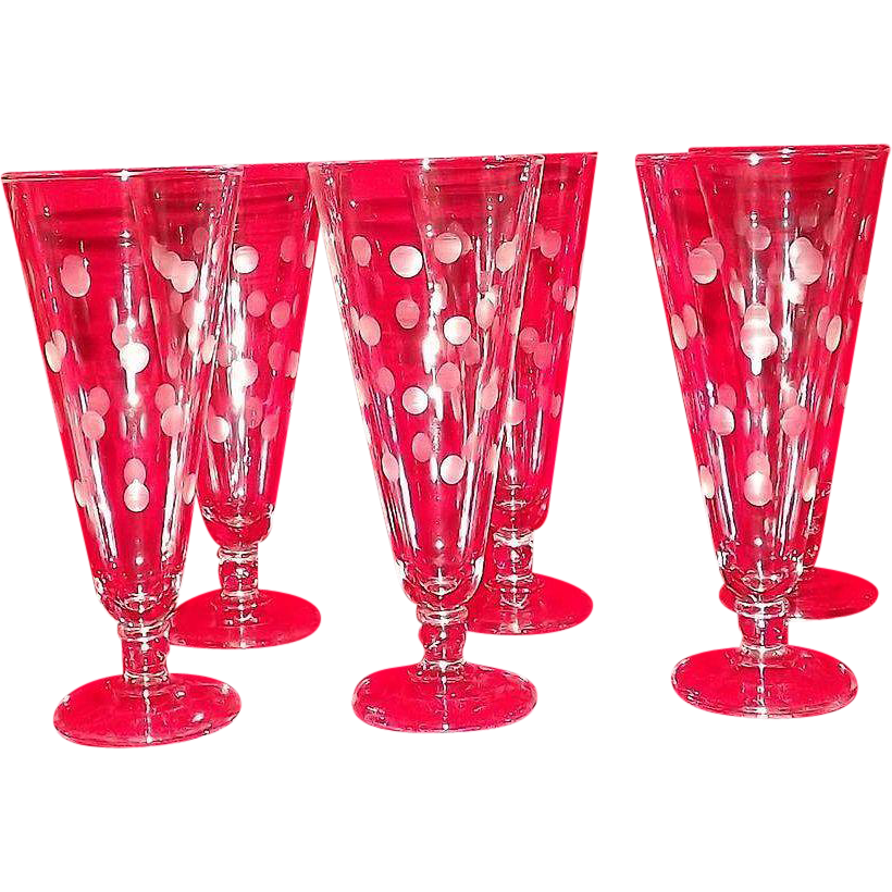 Set Of Six Polka Dot Decorated Pilsner Glasses