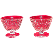 "Pair Of Fostoria ""American"" Pattern Sundae Glasses"