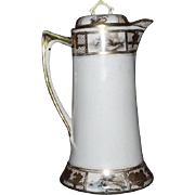 unmarked Chocolate Pot With Transfer And Hand Painted Decoration