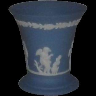 Wedgwood Light Blue Jasperware Trumpet Vase