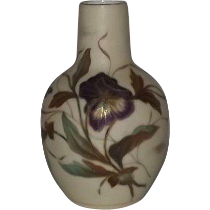 Hand Painted Pansy Decorated Porcelain Vase