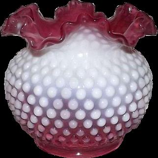 Large Fenton Cranberry Opalescent Hobnail Rose Bowl